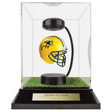 North Dakota State University Hover Helmet in Acrylic Case, on top of Hover Helmets TURF, on a base with plaque