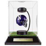 Northwestern University Hover Helmet in Acrylic Case, on top of Hover Helmets TURF, on a base with plaque