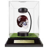 Oklahoma University Hover Helmet in Acrylic Case, on top of Hover Helmets TURF, on a base with plaque
