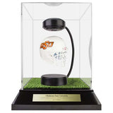 Oklahoma State University Hover Helmet in Acrylic Case, on top of Hover Helmets TURF, on a base with plaque