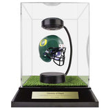 University of Oregon Hover Helmet in Acrylic Case, on top of Hover Helmets TURF, on a base with plaque