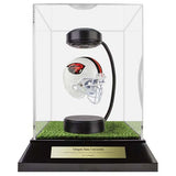 Oregon State University Hover Helmet in Acrylic Case, on top of Hover Helmets TURF, on a base with plaque
