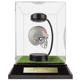The Ohio State University Hover Helmet in Acrylic Case, on top of Hover Helmets TURF, on a base with plaque