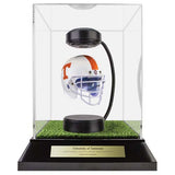 University of Tennessee Hover Helmet in Acrylic Case, on top of Hover Helmets TURF, on a base with plaque