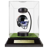 Texas Tech University Hover Helmet in Acrylic Case, on top of Hover Helmets TURF, on a base with plaque
