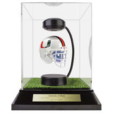 University of Miami Hover Helmet in Acrylic Case, on top of Hover Helmets TURF, on a base with plaque