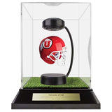 University of Utah Hover Helmet in Acrylic Case, on top of Hover Helmets TURF, on a base with plaque