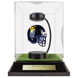 West Virginia University Hover Helmet in Acrylic Case, on top of Hover Helmets TURF, on a base with plaque