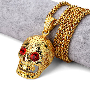 "Fashion Jewelry ""Skeleton Punk"" Mexican Pendant Necklace With Red Eyes"