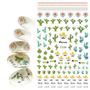 1pcs 3D Thin Nail Stickers Tips Nail Art Adhesive Decals Manicure Decoration Cactus West Desert Mexico Style Nail Wraps F249