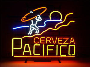NEON SIGN For PACIFICO CLARA MEXICAN CERVEZA  Signboard REAL GLASS BEER BAR PUB  outdoor Light Signs 17*14""