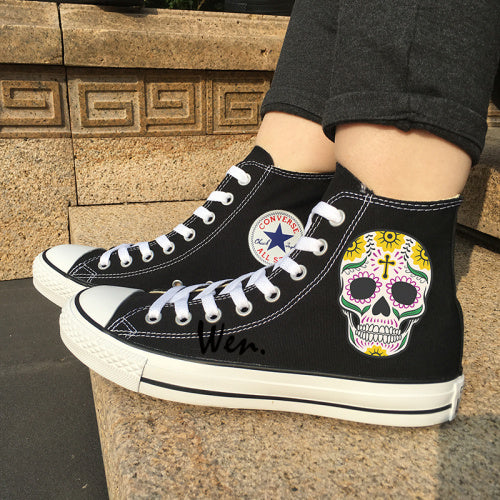 Men Women Converse All Star Skateboarding Shoes Design Colorful Mexican Skulls Flowers Totem White Canvas Sneakers