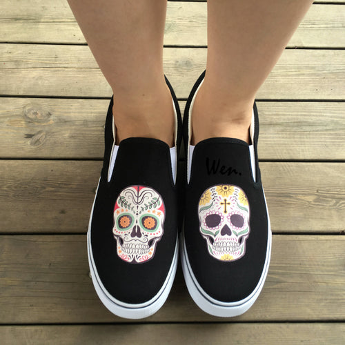 Black Slip On Shoes Original Design Mexican Colorful Flowers Tattoo Skulls Canvas Sneakers