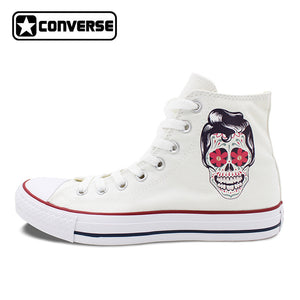 Men Women Converse Chuck Taylor White Canvas Shoes Femal Male Mexican Skull Tattoo High Top Sneakers
