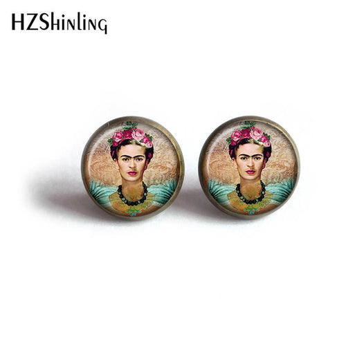 Frida Kahlo Photo Stud Earrings for Women Mexican Jewelry Personalized Earrings HZ4