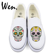 Original White Black Slip On Shoes Custom Mexican Skulls Floral Totem Mens Womens Canvas Sneakers