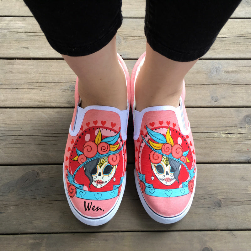 Custom Design Mexican Colorful Skull Tattoo Pattern Hand Painted Pink Slip On Canvas Sneakers for Girls and Women
