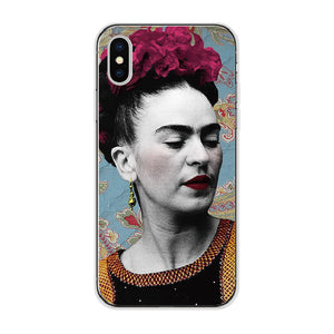 Mexican Frida Kahlo Artist Art Floral Flower Soft Phone Case Fundas For iPhone 7 7plus 6 6S 6Plus 5 5S 8 8Plus X SAMSUNG