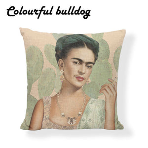 Frida Kahlo Mexican Traditional Cushion Cover Pillow Case Painter Tropical Flower Cactus Rose Linen Home Decor Sofa