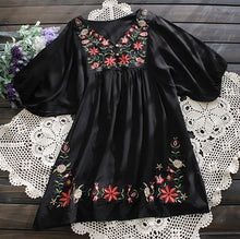 Hot Sale Vintage 70s Floral EMBROIDERED  Mexican puff slv Blouse DRESS One Size TOP XS S M L Free Shipping