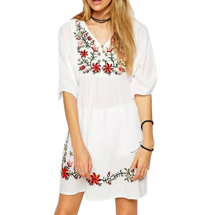 Vestidos Mexican Embroidere Three Quater Sleeve Women Dress Moda Mujer
