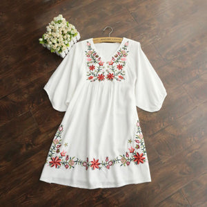 Hot Sale! Vintage 70s Women Mexican Embroidered Mini Dress Free Shipping