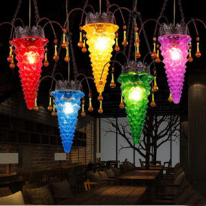 Hot pepper Bar light Mexican traditional Colored Glass Pendant Light  Lamp  lantern