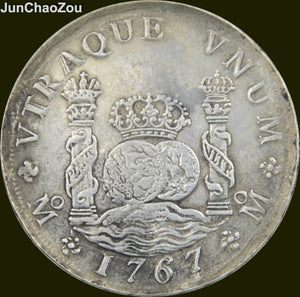 Mexico Coins 1767 90% Silver MF 8 REALES Dollar Copy Coin High Quality