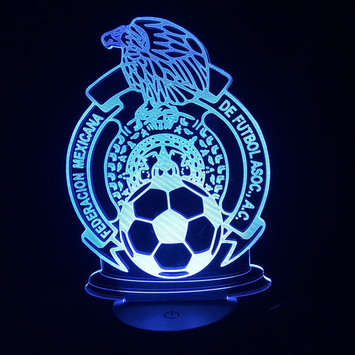 2018 LED Lamp Mexico 7colors Changing 3D Illusion Lamp Soccer Night Lights 3D Visual Light Desk Luminaria with USB