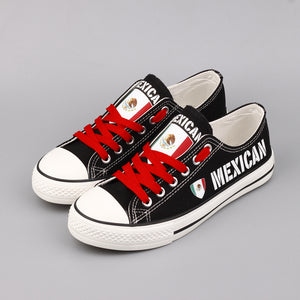 Mexico Flag Casual Canvas Shoes Women Custom Design Mexican Flat Espadrilles Zapatillas Mujer