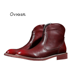 Ovxuan Carved Genuine Leather Chelsea Ankle Boots Mexico Style