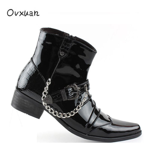Ovxuan Black Patent leather Men Mexican Boots