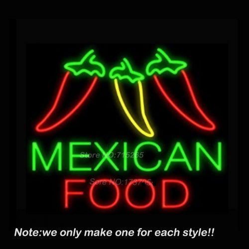 Mexican Food Three Peppers Neon Sign  Handcraft  Neon Bulbs Real Glass Tube  VD 17x14