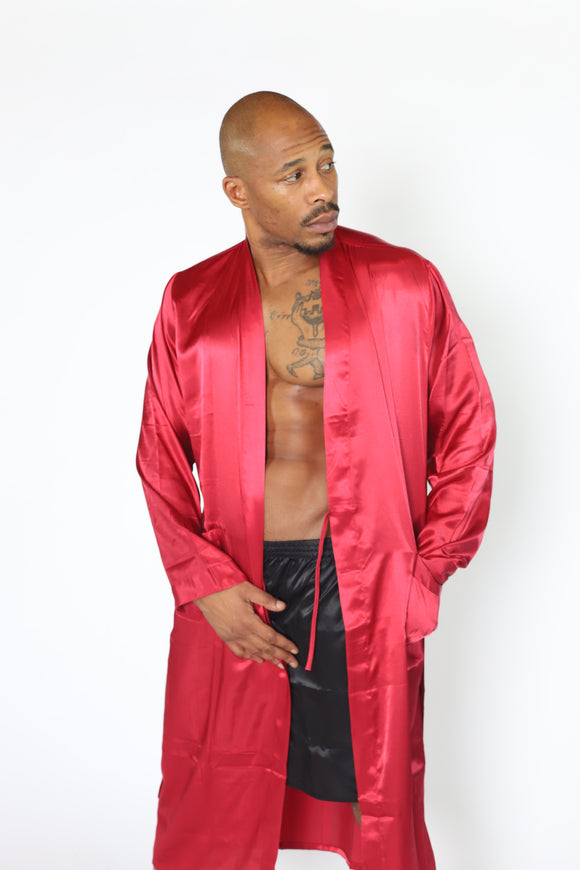 Mens  Silk Satin Robe