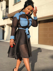 Vivo Denim and Mesh  Dress Coat