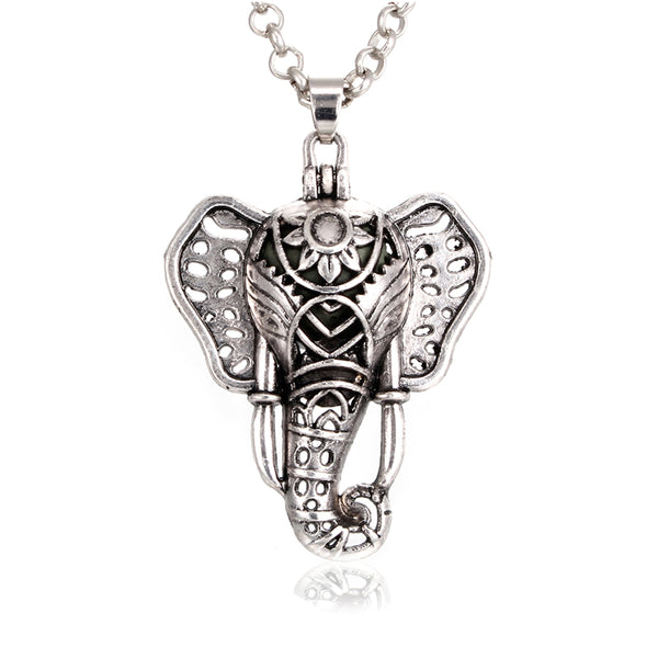 1PC Vintage Silver Lucky Elephant Magnetic Closure Locket Essential Oil Diffuser Pendant Necklace Aroma Necklace with Lava Rock