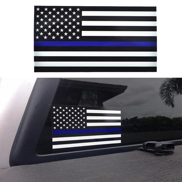 1PCS Police Officer Thin Blue Line American Flag Vinyl Decal Car Sticker #1
