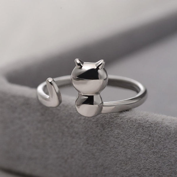 Animal Open Cute Fashion Ring for Women Silver Plated Wedding Bands Party Rings for Lady  Women Elegant Cat Shape Style
