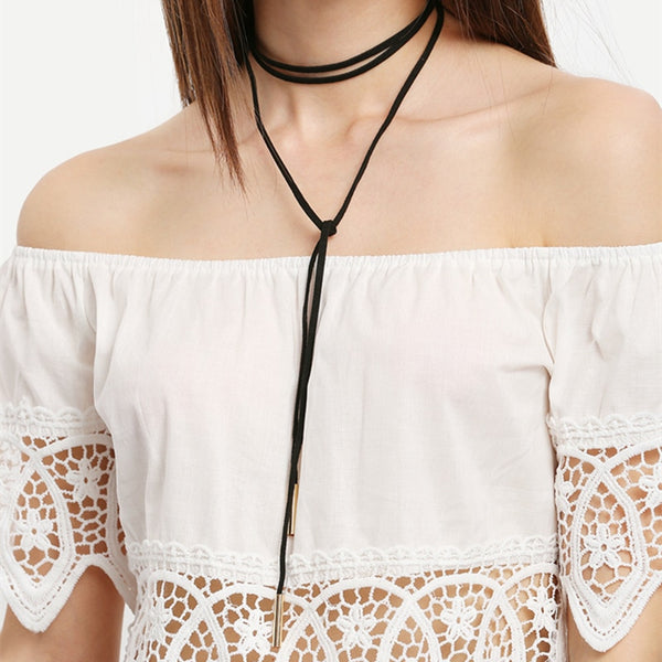 Black Choker Necklace Gothic Punk Velvet Long Pendant Women Collar Jewelry Chocker Necklaces  8ND89