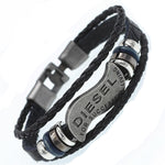 FREE DIESEL Brand Men's Braided Genuine Leather Bracelet - TotallyFree