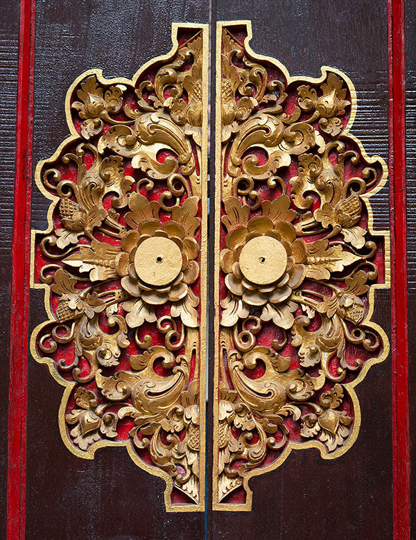 Hand carved doors in Bali.