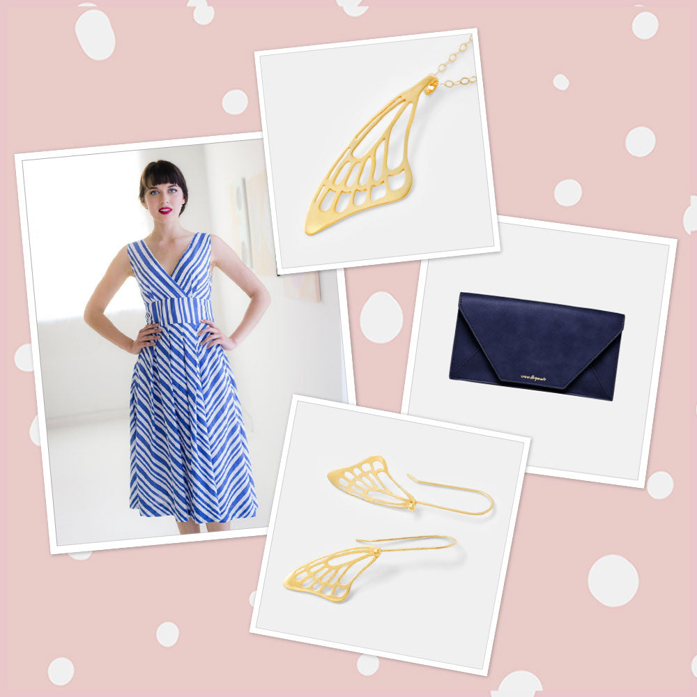 Striped blue dress with gold jewellery: Australian summer and Christmas fashion.