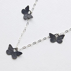 Butterflies necklace - etched and oxidised sterling silver.