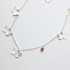 Butterflies necklace handmade in sterling silver.