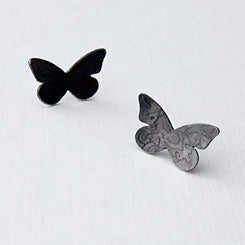 Butterflies post earrings - etched and oxidised sterling silver.