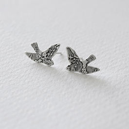 Flying birds etched post earrings.
