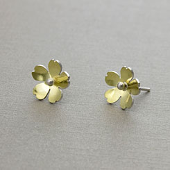 Buttercup earrings in gold and silver.