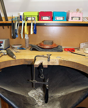 Photograph taken at my jewellery making bench.