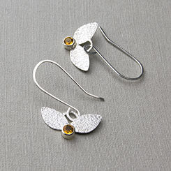Leaves and citrines earrings - sterling silver and citrine gemstone settings.