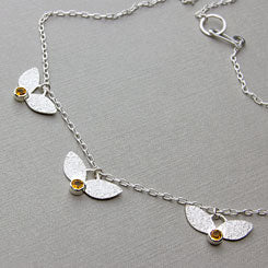 Leaves and citrines necklace - sterling silver and citrine gemstone settings.